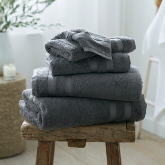 The White Company Classic Double Border Towel Bath Towel, Slate, Bath Towel