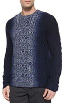 Vince Degrade Cable-Knit Crewneck Sweater, Blue