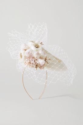 Philip Treacy Embellished Straw And Netting Headband - Ivory