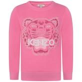 Kenzo KidsGirls Pink Beaded Tiger Sweater