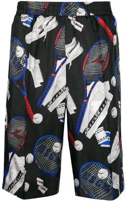 MSGM Tennis Print Sports Shorts