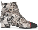 Just Cavalli Snake-Effect Leather Ankle Boots