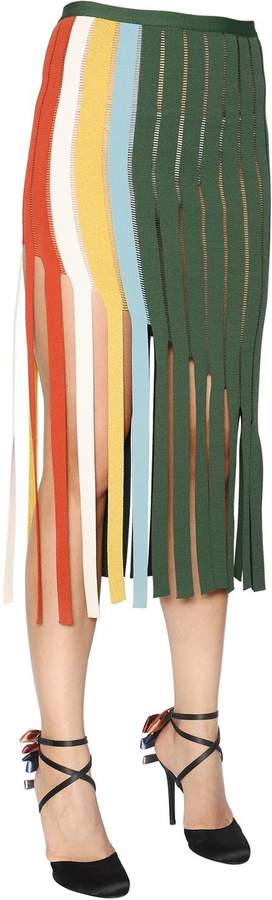 Marco De Vincenzo Fringed Milano Jersey Skirt