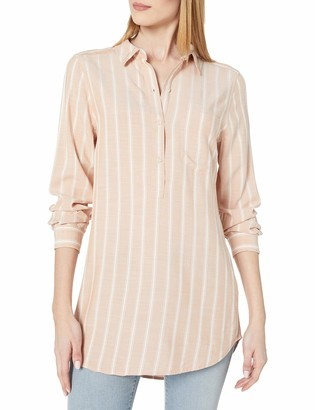 Daily Ritual Amazon Brand Women's Soft Rayon Slub Twill Long-Sleeve Popover Tunic