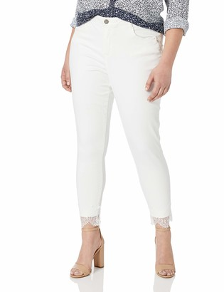 Democracy Women's Plus Size Ab Solution High Rise Ankle Pant with lace Hem
