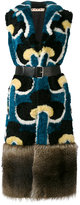 Marni Portrait print fur gilet coat - women - Sheep Skin/Shearling/Polyester/Viscose/Racoon Fur - 40