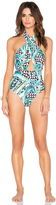 Mara Hoffman Cross Front Halter Swimsuit