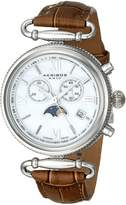 Akribos XXIV Women's AK754BR Leather Brown/Silver Base Metal Watch