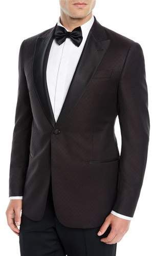 Emporio Armani Men's Tonal Pattern Wool Dinner Jacket