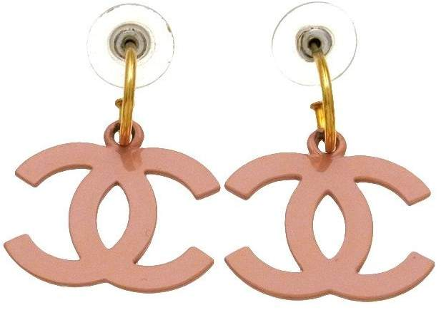 Chanel Pink CC Logo Dangle Stud Earrings