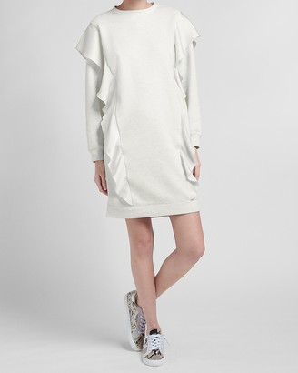 Express Oversized Ruffle Front Sweatshirt Dress