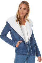 Roxy San Simon Womens Fleece Denim Jacket Blue