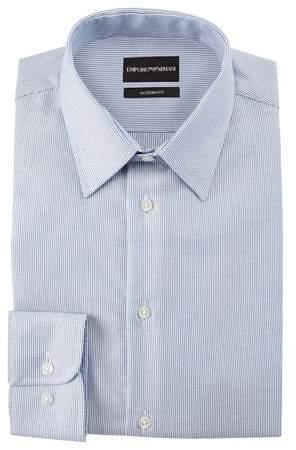 Emporio Armani Men's Modern Fit Micro-Stripe Cotton-Blend Dress Shirt