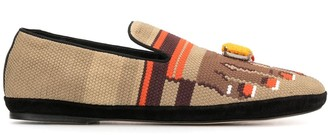 Loewe Toes-Embroidered Canvas Loafers
