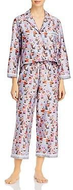 Natori Tea Party Cropped Cotton Pajama Set