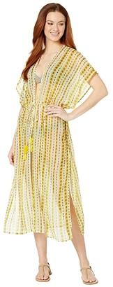 Echo New York Shibori Midi Open Caftan (Yellow Glow) Women's Swimwear