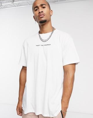 Night Addict oversized trust the journey slogan t-shirt-White