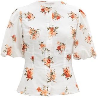 Emilia Wickstead Selena Puffed-sleeve Floral-print Cotton Top - White Print