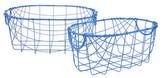 Three Hands Metal Blue Wire Baskets - Set of 2