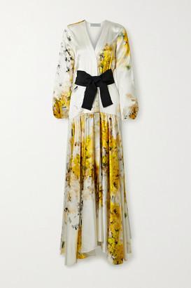 Silvia Tcherassi Felicity Belted Floral-print Silk-blend Satin Gown - White