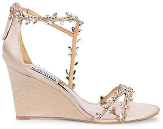 Badgley Mischka Crystal-Embellished Wedge Sandals