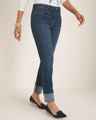 So Slimming Tweed Cuff Girlfriend Ankle Jeans