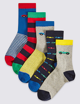 Marks and Spencer 5 Pairs of FreshfeetTM Cotton Rich Socks (1-14 Years)