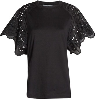 Alberta Ferretti Cotton Eyelet Short Sleeve T-Shirt