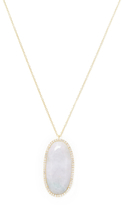 Meira T 14K Yellow Gold, Green Jade & 0.64 Total Ct. Diamond Oval Pendant Necklace