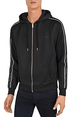 The Kooples Faux Leather Trim Zip-Front Hoodie