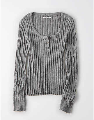 American Eagle AE Ribbed Scoop Neck Henley Pullover Sweater