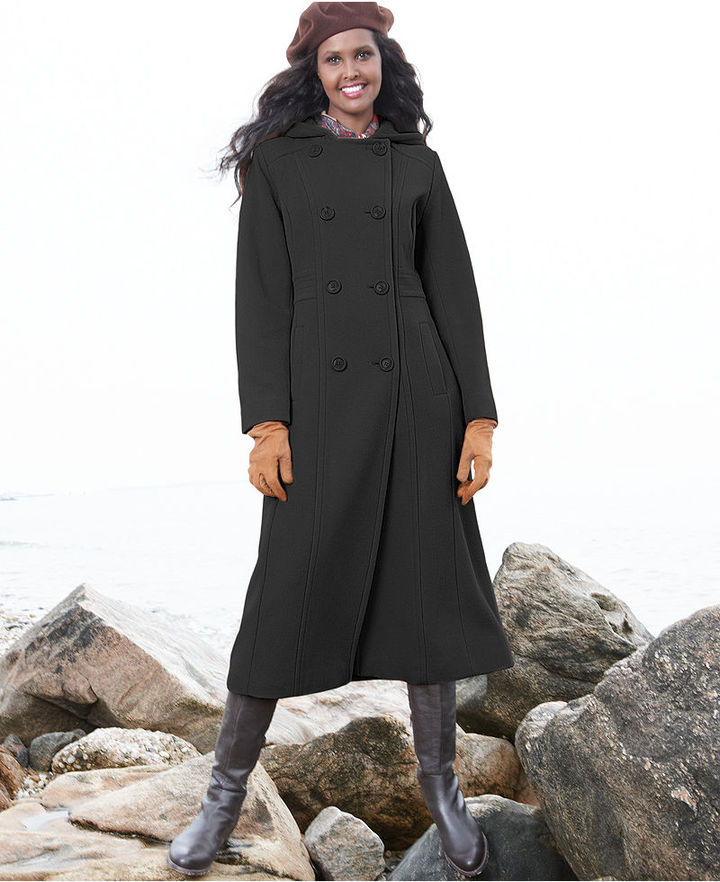 Anne Klein Coat, Double-Breasted Hooded Wool-Blend