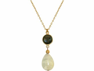 Gemshine Necklace with Aquamarine and Labradorite. Pendant in Sterling Silver or 18k gold plated on a 60 cm chain. Made in Munich/Germany. In on elegant gift box
