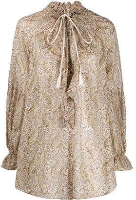 Etro paisley ruffled neck blouse