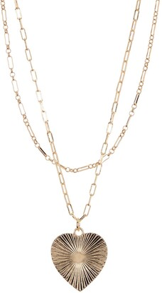 Area Stars Gold-Tone Layered Chain Heart Pendant Necklace