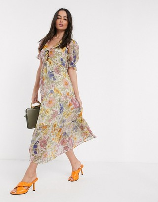 Neon Rose maxi dress with tiered skirt and ruffle frill in vintage floral