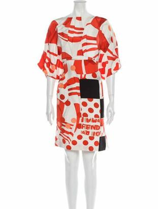 Fendi Printed Knee-Length Dress Orange