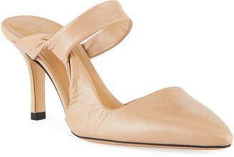 The Row Gala Twist Leather Mule Pumps
