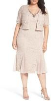 Alex Evenings Plus Size Women's Embellished Lace Tea Length Dress With Bolero Jacket