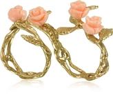 Bernard Delettrez Two Fingers Leafy Bronze Ring w/4 Pink Resin Roses