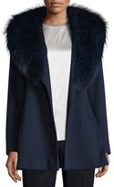 Fleurette Short Wool Wrap Coat w/ Fox Fur, Midnight