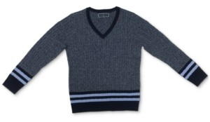 Karen Scott Striped Cable-Knit V-Neck Sweater, Created for Macy's