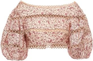 Zimmermann Cropped Crochet-trimmed Floral-print Linen Top