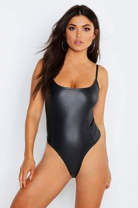 boohoo Matte Leather Look Seamed Strappy Bodysuit