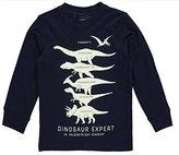 Carter's Little Boys Long-Sleeve Glow-In-The-Dark Dinosaur Expert Graphic Tee