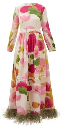 La DoubleJ Pemberley Feather-trimmed Floral-print Silk Gown - White Print