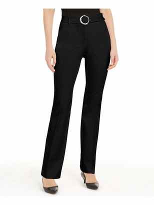 Alfani Womens Black Belted Solid Straight Leg Wear to Work Pants UK Size:12