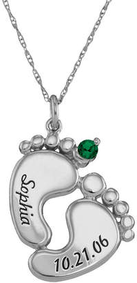 FINE JEWELRY Personalized Sterling Silver Name, Date & Birthstone Footprints Pendant Necklace