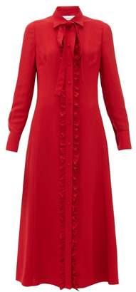Valentino Ruffled Crepe Midi Dress - Womens - Red