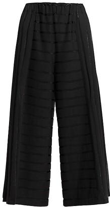 Issey Miyake Opal Stripe Wide-Leg Crop Trousers